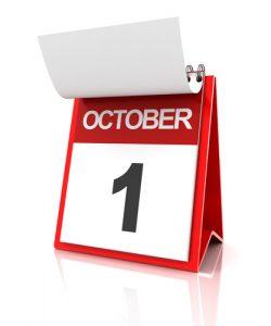 First of October calendar, 3d render